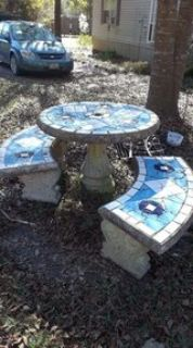 Outdoor Patio Concrete Table & Benches