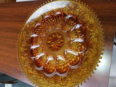 Tiara Indiana Glass Deviled Egg Plate Dish Gold Amber Color