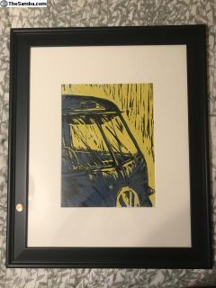 Framed Bus Woodcut finely rendered