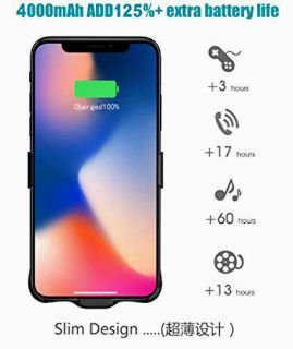 iPhone X 4000mAh Battery Charging Case with Screen protector