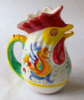 Deruta Chicken Rooster Pitcher Jug Hand Painted