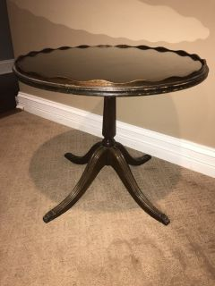 Antique round wood side table