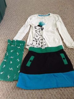 Gymboree 8 skirt and top, leggings size 7