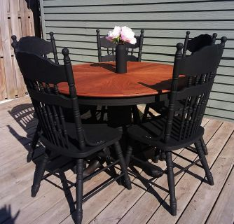 Refinished solid oak Table and chairs
