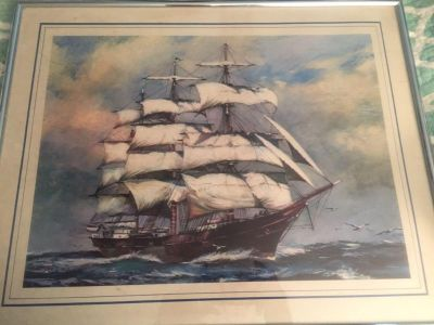 1970 s ship print framed by Marsel Mirror
