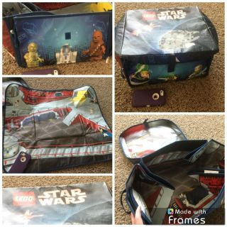 Disney Star Wars LEGO carrying case with lid, corners of case unzip and then case folds flat for play, building. Minor wear, $3.00