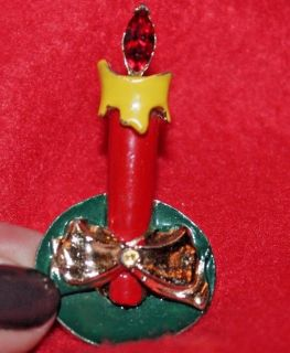 Beautiful Vintage Enamel Christmas Candle Pin, Red Stone