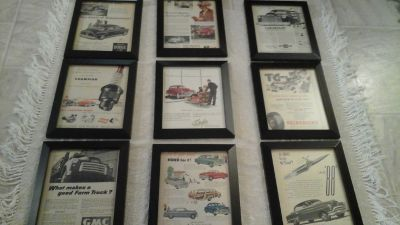 Vintage '51 Magazine Advertisement Ads Auto/Cars Related (9) Framed Pictures