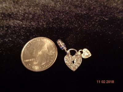 925 Sterling silver/18 Kt gold heart bead/charm