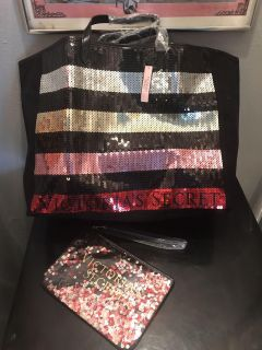 Victoria s Secret sequin tote and small sequin beauty bag NEW