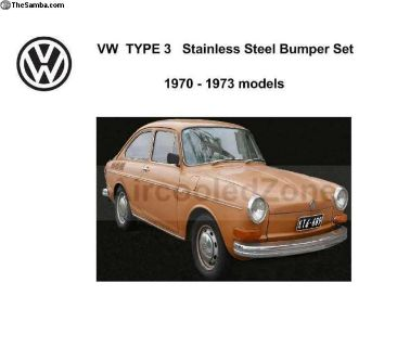 1970-1973 VW Type 3 Stainless Steel Bumper SET