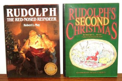 RARE Vintage 1990's Rudolph The Red Nose Reindeer & Rudolphs Second Christmas Hard Cover Books w...