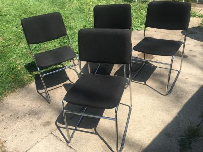 4 Black And Metal Chairs