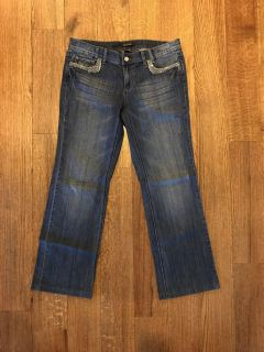 Excellent used condition White House Black Market lightly distressed boot cut jeans size 8