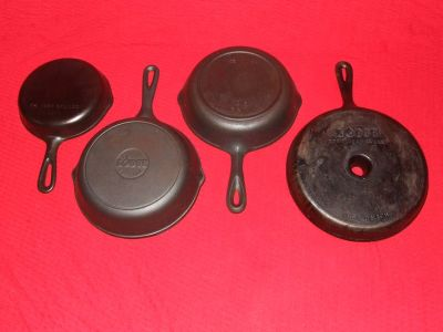 Vintage Cast Iron Skillet Fry Pan ~ 4 in all ~ Wagner Lodge BSR