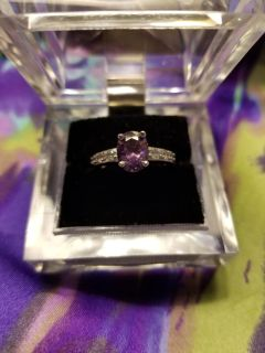 NEW Size 7 Oval Cut February Amethyst CZ .925 Sterling Silver Ring