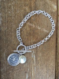 New Silver Initial N Bracelet with pearl charm