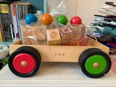 33 vintage wood blocks in a colorful FAO wood pull toy ,,, $10