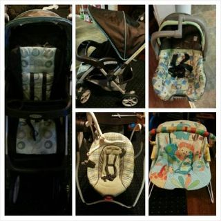 Stroller, Swing, Carseat and bouncer for sale
