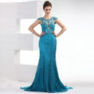 Lace Floral Mermaid Handmade Evening Dress with Brush Train