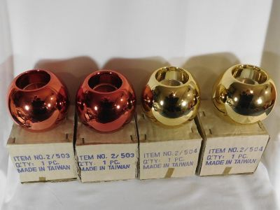 Set of 4 ~ Ball Ornaments Votive Candle Holders ~ 2 Red ~ 2 Gold
