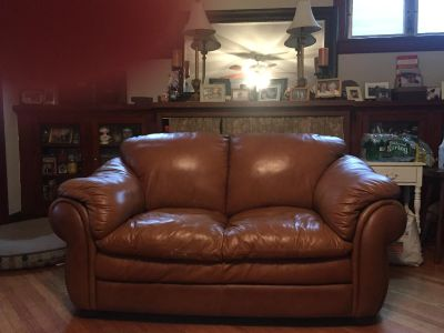 Brown Leather Couch 66 W x 36D