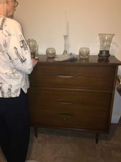 Tall vintage wooden dresser with 5 drawers