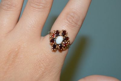 Vintage Garnet and Opal, 10K Yellow Gold Cluster Ring
