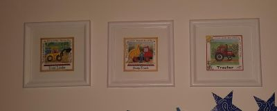 3 construction pictures for a nursery or little boys room