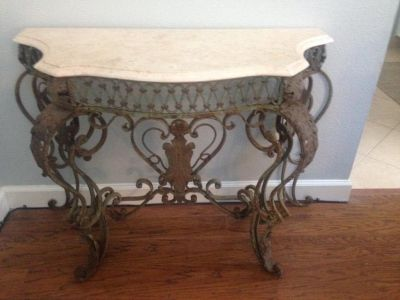 Antique French Wrought Iron and Marble Console Table