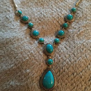 Vintage turquoise beaded chain and pendant