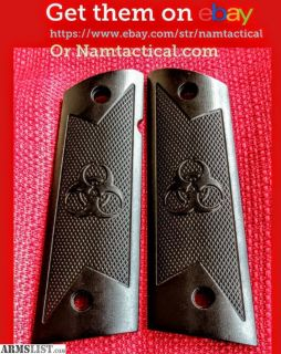 For Sale: Custom Machined Full Size 1911 Betsy Ross Flag Grips, Flat Bottoms for Magwell. Ambi cut.