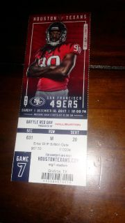 Houston texans vs 49ers ticket