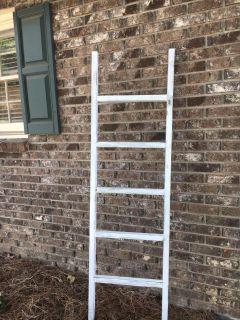 Wooden white chalk painted, distressed & waxed ladder.
