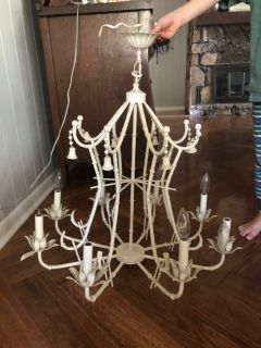 White bamboo chandelier