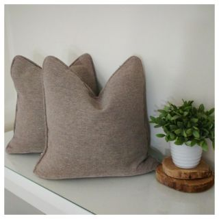 Pottery Barn Set of 2 Brown Feather Down Pillows