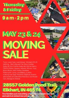Moving Sale Thurs & Fri May 23 & 24 9-2pm