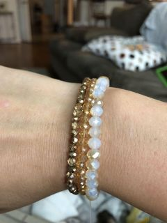 Gorgeous long necklace and stacking bracelets