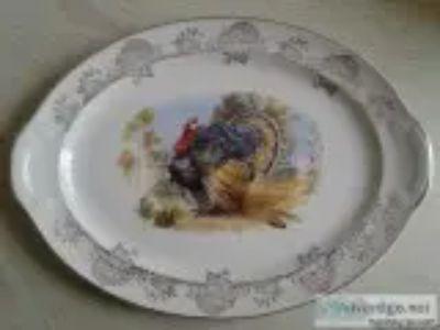 VINTAGE HOLIDAY TURKEY PLATTER PLATE