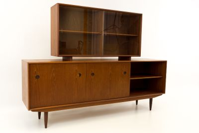 R Huber Teak Buffet Sideboard Credenza with Hutch