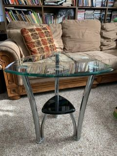 Set of modern glass end tables