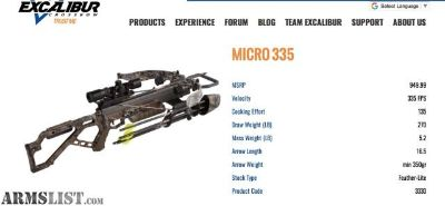 For Sale: Excalibur Micro 335 Cross Bow Package