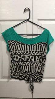 Turqouise Knotted Wide Neck Top