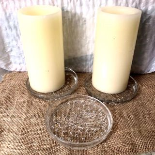 2 Tall ELECTRIC CANDLES & 3 CRYSTAL ANGEL PLATES