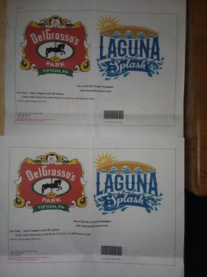 2 DelGrosso's/Laguna Splash tickets purchased on line. Paid $53.50 for 2. If you buy at gate they cost $31.95 each. Good for July/August.