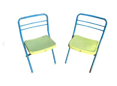 Vintage Children's Colored Metal Folding Chairs