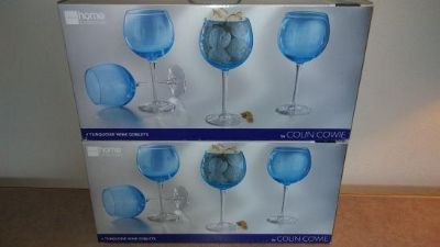 8 Turquoise Wine Goblets