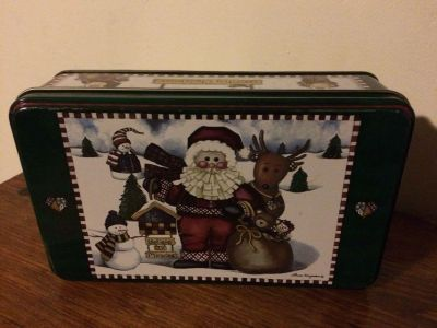 Christmas tin (approx 7.5 in w x 4.5 in h x 2 in d )