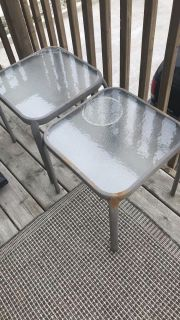 Small Outdoor Glass-Top Patio Table Set
