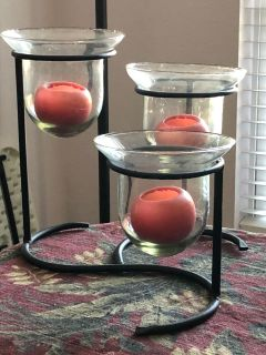 Glass and iron candle holder